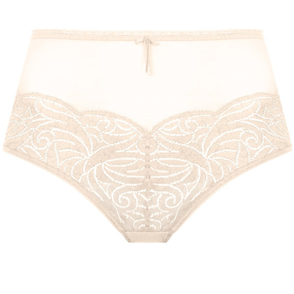 Empreinte, Verity, panty, deep brief, flat lace on the bottom at front, with sheer tulle at the top and back, blush, knicker, Caroline Randell