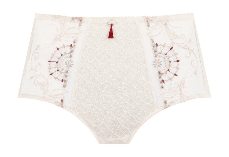 Empreinte, victoria, panty, full brief, knicker, natural, embroidery detail and tassel at the front, Caroline Randell