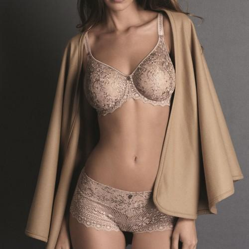 Empreinte, Cassiopee, underwired, seamless, DD+, in Rose Sauvage, Nude, invisible T-shirt, bra and embroidered underband. Caroline Randell