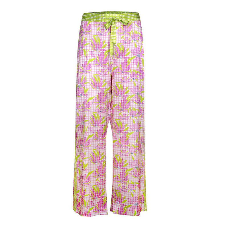 Jessica Russell Flint, Water the Lilly, Pyjama, Caroline Randell, Silk, Nightwear, SS21, pink, lime green, floral