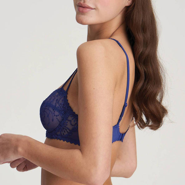 Marie Jo Jane Balcony Horizontal Seam lacey bra with double straps in Lazuriete Blue.