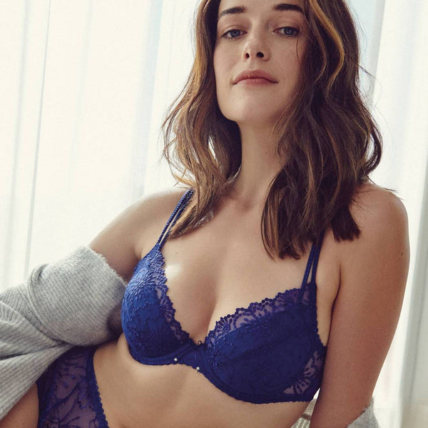 Marie Jo Jane Balcony Padded Push up Plunge Bra 0101337 in Lazuriete Blue.