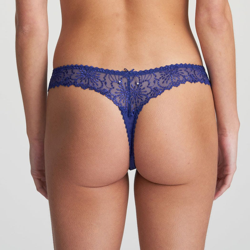 Marie Jo Jane Thong in Lazuriete Blue. The Jane sexy thong is made of lovely transparent embroidery, giving a romantic, luxury feel to this tanga