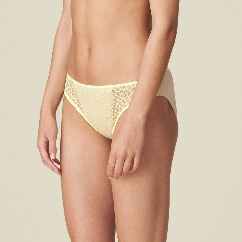 Marie Jo L'Aventure Alexander rio brief in a leopard fabric print. Combination of nude and limone yellow colour. Caroline Randell