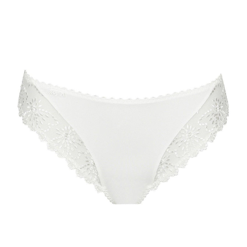 Marie Jo Jane italian brief with embroidery lace, giving a seamless finish. Seamless embroidery lace briefs in natural at Caroline Randell.