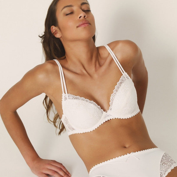 Marie Jo Jane push up plunge, underwired bra. Embroidered lace with double straps in natural, at Caroline Randell.