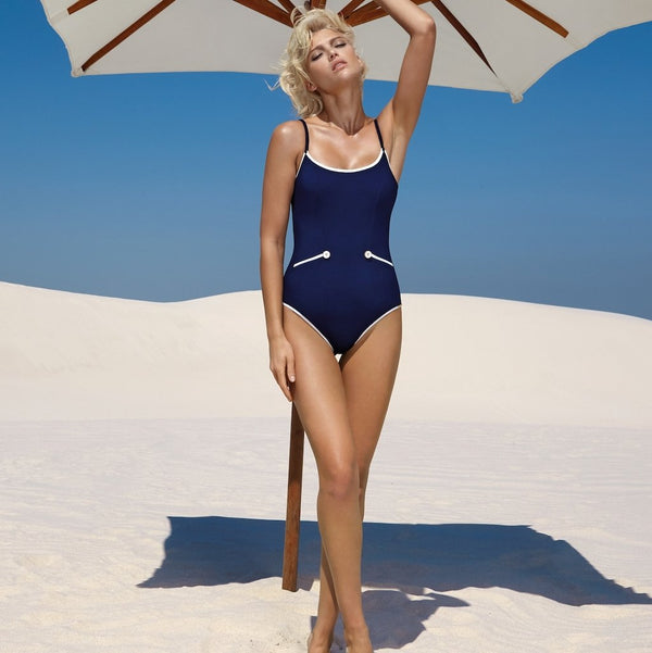 Maryan Mehlhorn, Lounge, Underwired, Swimsuit, Caroline Randell, SS20, Swimwear, Navy white, button detail