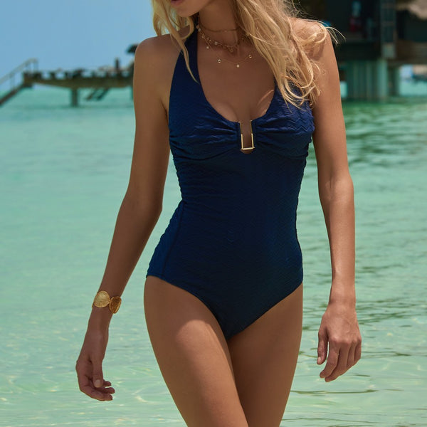 Melissa Odabash, Tampa, supportive, one piece, swimsuit, halterneck, gold u bar, blue, textured, Caroline Randell.