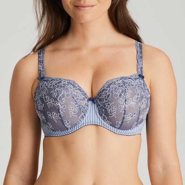 Prima Donna Nyssa balcony vertical seam with stretch lace going through to the straps. A pretty blue colour and stripe and fabric, Caroline Randell.