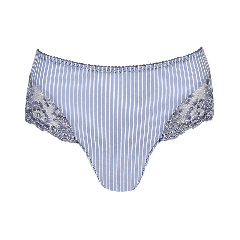 Prima Donna Nyssa luxury thong with striped fabric and lace edge on the upper leg and bum. Indigofera denim blue colour, Caroline Randell.