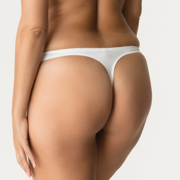 Prima Donna, Deauville, classic thong, tanga, panty, in natural, ivory with side lace, Caroline Randell