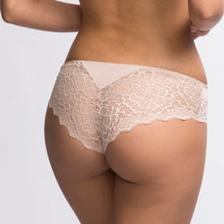 Simone Perele, Caresse, lacey seamless, short, hot pant, knicker, full lace back and front, in peau rose, beige, nude.