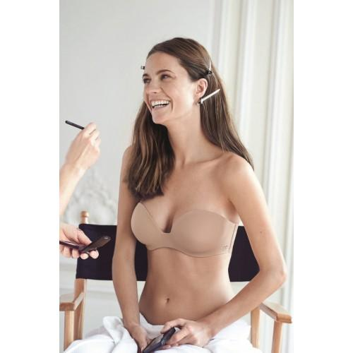 Simone Perele, Inspiration, strapless, attachable straps, underwired, moulded, smooth, plunge, bra, nude colour, Caroline Randell.