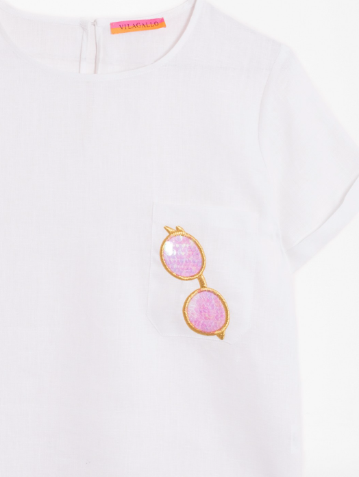 Candy EMB White Linen H Shirt
