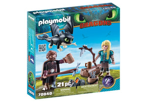 HICCUP E ASTRID CON BABY DRAGON PLAYMOBIL 70040