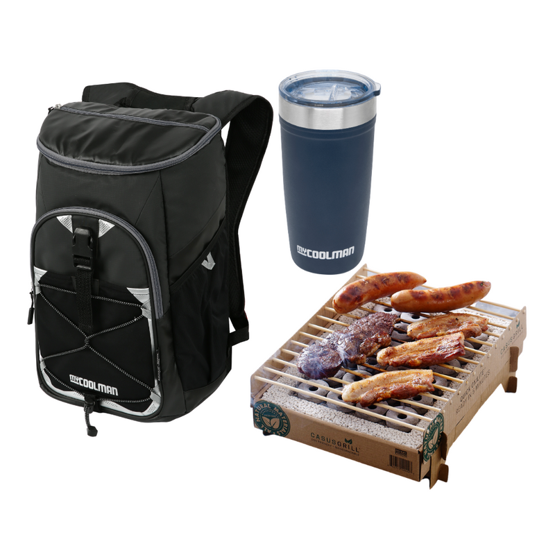 24 Can Backpack Cooler 15L + CasusGrill Portable BBQ + 20 Oz Insulated Travel Tumbler