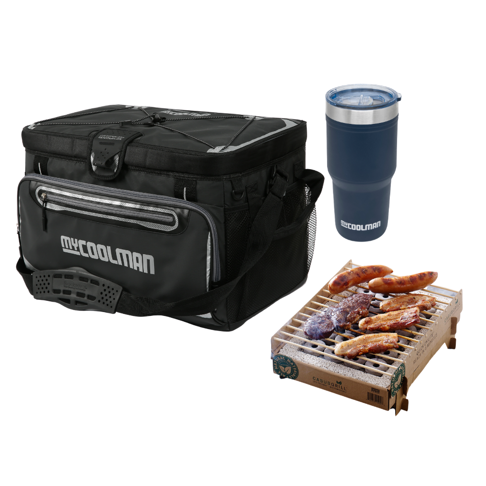 48 Can Cooler Bag 30L + CasusGrill Portable BBQ + 30 Oz Insulated Travel Tumbler