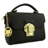Orchid Black Leather Bag