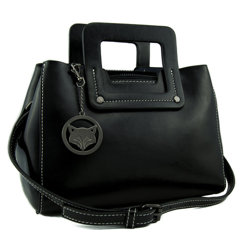 Black Minimalist Leather Bag