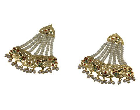 Jadau white bead Earings