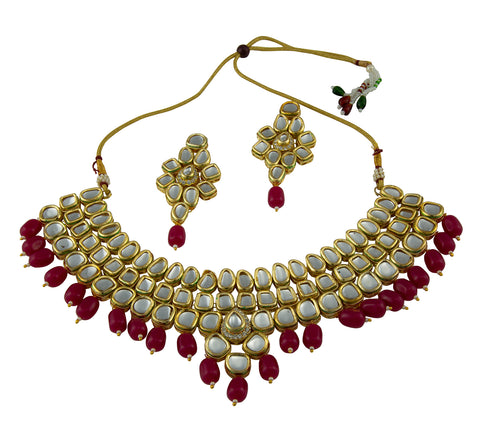 Magenta Layered Kundan Set
