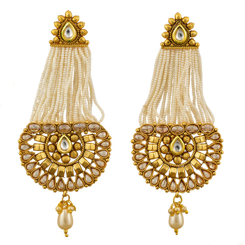 Milky Bead Chain Golden Earrings