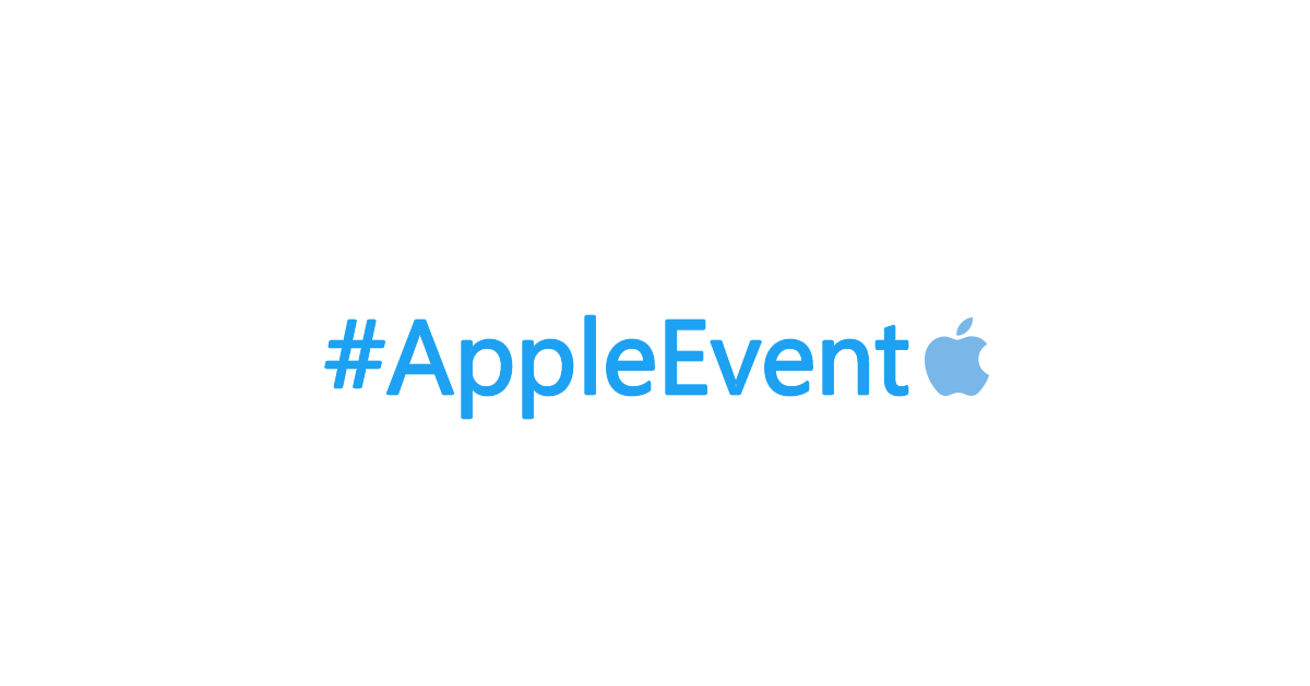 The AppleEvent hashtag on Twitter has a light blue Apple logo