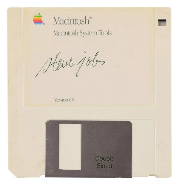 Hundred times higher price launches Steve Jobs signature Floppy auction in 1988