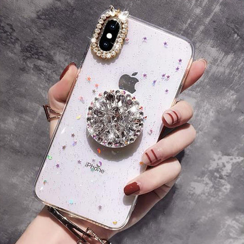 iPhone X Case Glitter Marble Diamond Ring Holder White-CoolDesignOnline