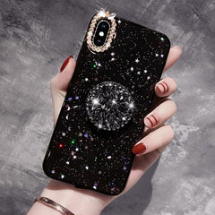 iPhone XS Case Glitter Marble Diamond Ring Holder Black-CoolDesignOnline