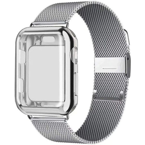 Apple Watch Band 38mm Silver Stainless Steel Milanese Loop With Case-CoolDesignOnline