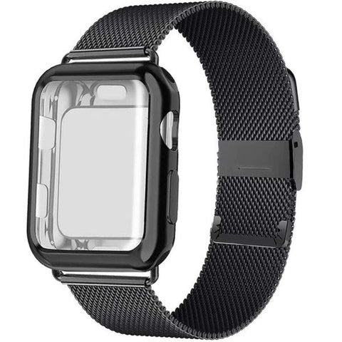 Apple Watch Band 38mm Black Stainless Steel Milanese Loop With Case-CoolDesignOnline