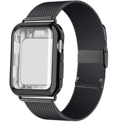 Apple Watch Band 40mm Black Stainless Steel Milanese Loop With Case-CoolDesignOnline