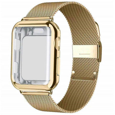 Apple Watch Band 38mm Gold Stainless Steel Milanese Loop With Case-CoolDesignOnline