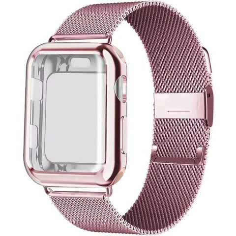Apple Watch Band 42mm Pink Gold Stainless Steel Milanese Loop With Case-CoolDesignOnline