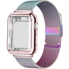 Apple Watch Band 38mm Colorful Stainless Steel Milanese Loop With Case-CoolDesignOnline