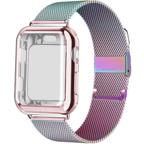 Apple Watch Band 40mm Colorful Stainless Steel Milanese Loop With Case-CoolDesignOnline