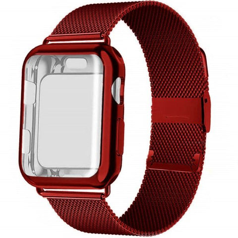 Apple Watch Band 42mm Red Stainless Steel Milanese Loop With Case-CoolDesignOnline