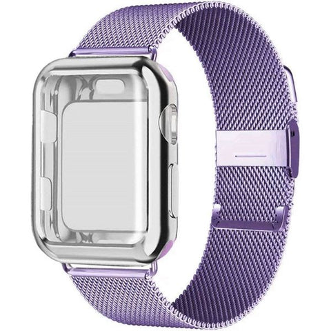 Apple Watch Band 38mm Lilac Stainless Steel Milanese Loop With Case-CoolDesignOnline