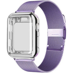 Apple Watch Band 40mm Lilac Stainless Steel Milanese Loop With Case-CoolDesignOnline