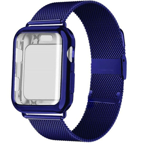 Apple Watch Band 42mm Blue Stainless Steel Milanese Loop With Case-CoolDesignOnline