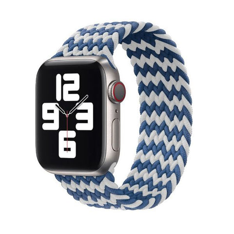 Apple Watch Band 44mm - 42mm Blue White Nylon Braided Solo Loop-CoolDesignOnline