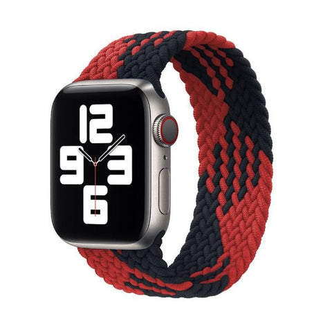Apple Watch Band 44mm - 42mm Black Red Triangle Nylon Braided Solo Loop-CoolDesignOnline