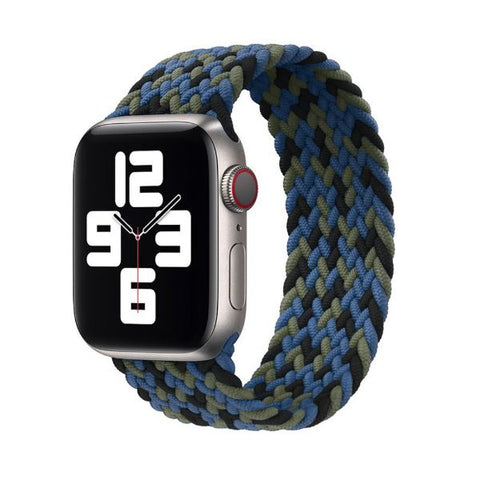 Apple Watch Band 44mm - 42mm Blue Green Black Nylon Braided Solo Loop-CoolDesignOnline