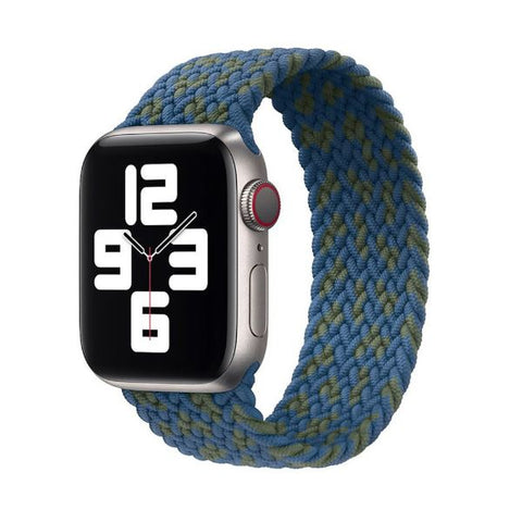 Apple Watch Band 44mm - 42mm Blue Green Messy Nylon Braided Solo Loop-CoolDesignOnline