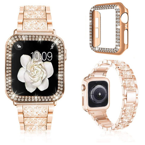 Apple Watch Band 42mm Diamond Rose Gold Stainless Steel with Bling Cover