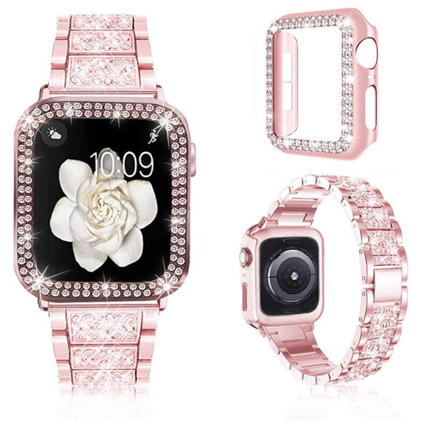 Apple Watch Band 44mm Diamond Pink Stainless Steel with Bling Cover