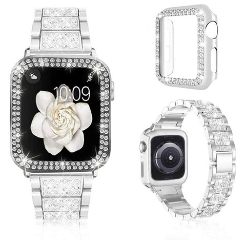 Apple Watch Band 44mm Diamond Silver Stainless Steel with Bling Cover