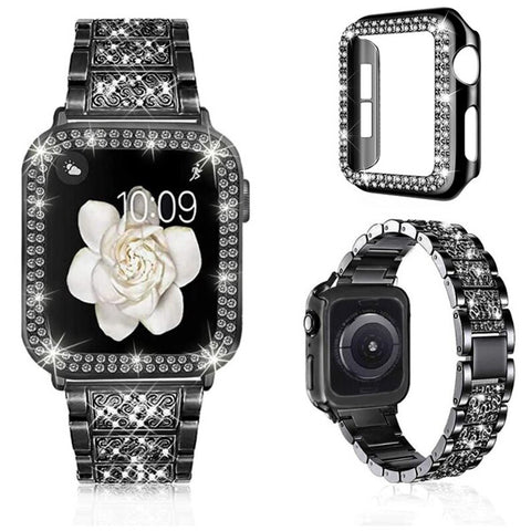 Apple Watch Band 38mm Diamond Black Stainless Steel with Bling Cover