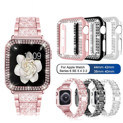 Apple Watch Band 38mm Diamond Pink Stainless Steel with Bling Cover